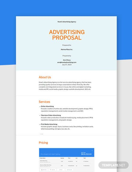 Free Basic Advertising Agency Proposal Template