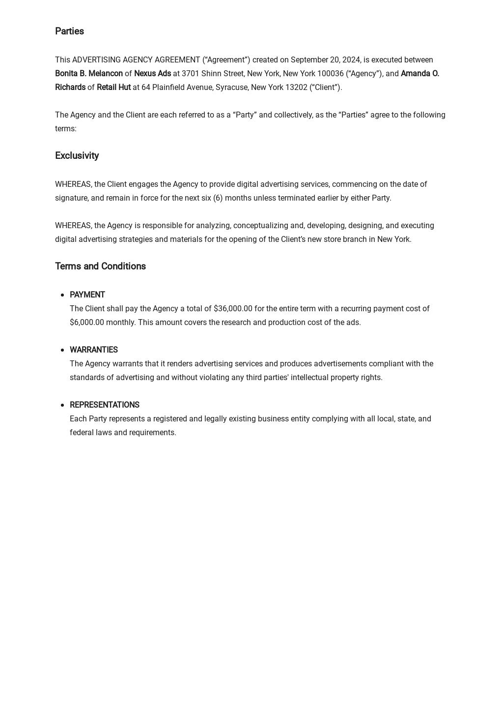 Free Sample Advertising Agency Agreement Template 1.jpe