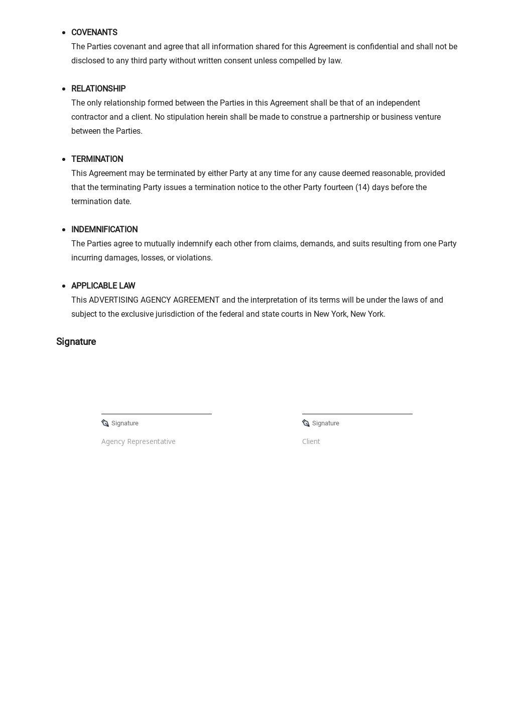 Free Sample Advertising Agency Agreement Template 2.jpe