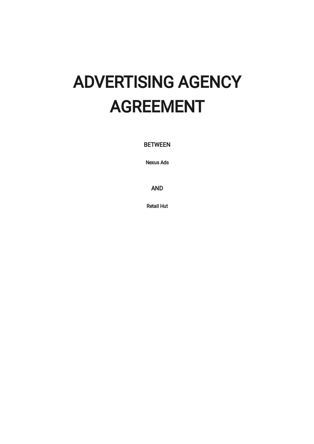 Free Sample Advertising Agency Agreement Template.jpe