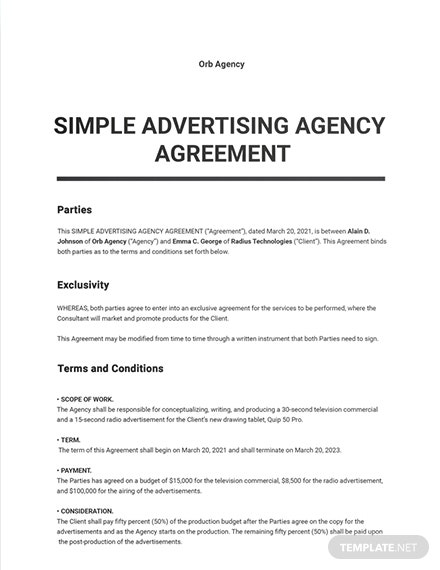 Free Simple Advertising Agency Agreement Template