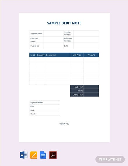 Free Sample Debit Note Template