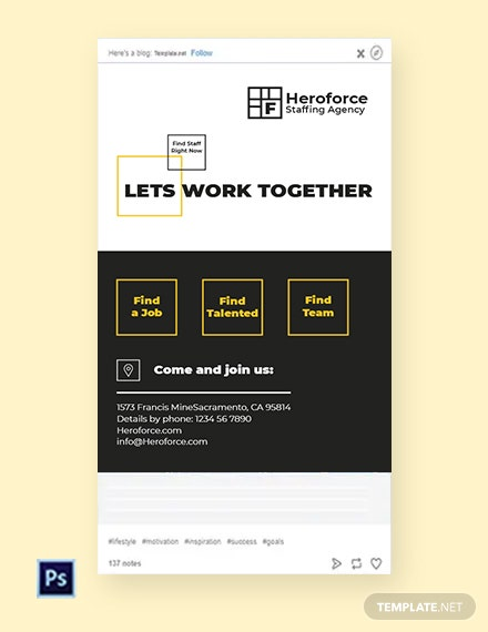 Free Staffing Agency Tumblr Post Template