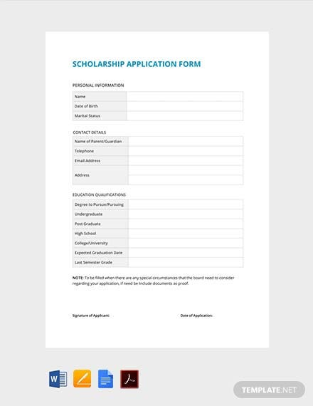 Free Sample Scholarship Application Form