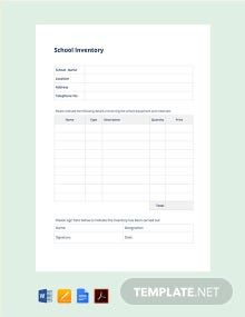 Free School Inventory Template