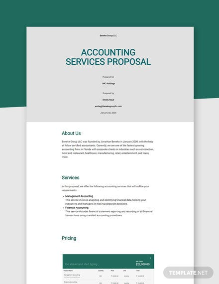 Free Sample Accounting Proposal Template