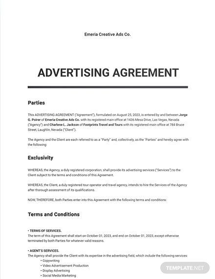 Ad Agency Agreement Template