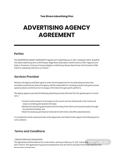 Sample Advertising Agency Agreement Template