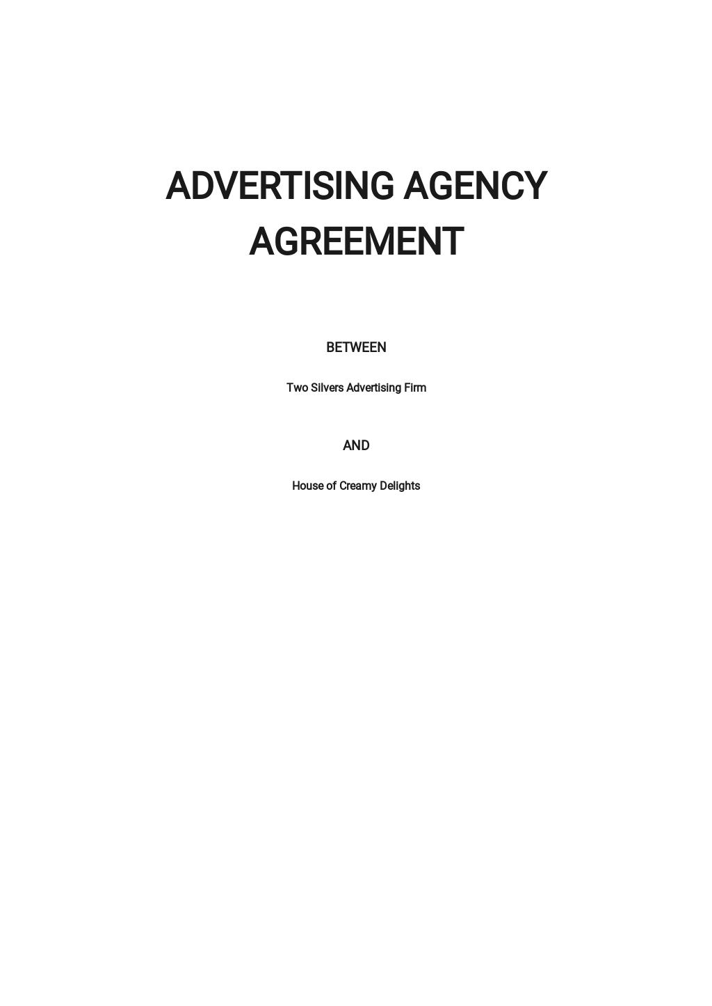 Sample Advertising Agency Agreement Template