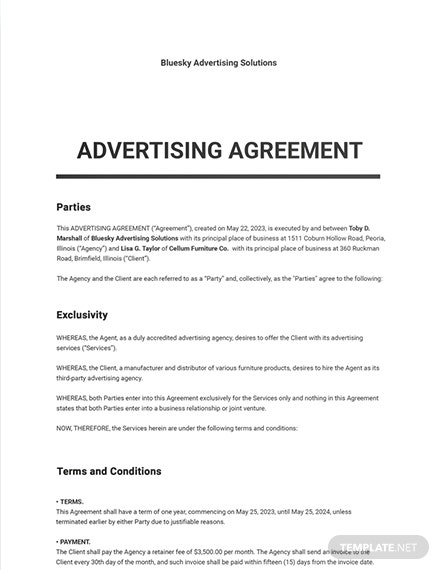Simple Advertising Agency Agreement Template
