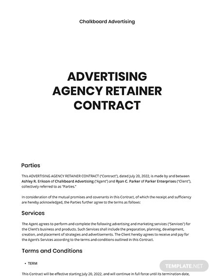 Ad Agency Retainer Contract Template
