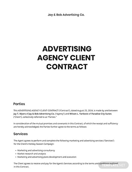 Advertising Agency Client Contract Template