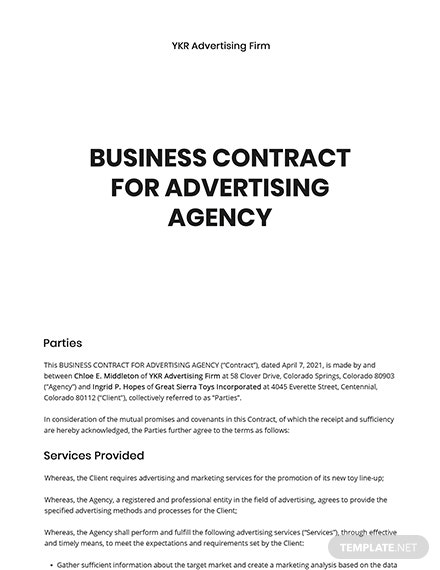 Business Contract for Advertising Agency Template