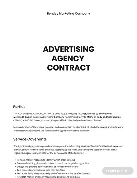 Free Sample Advertising Agency Contract Template
