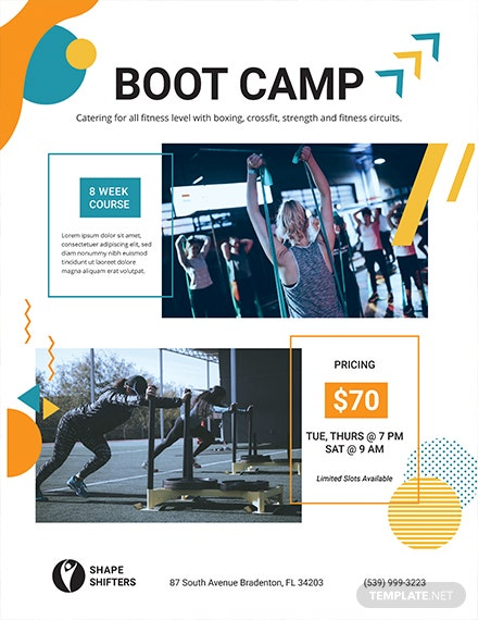fitness boot camp flyer template 1x