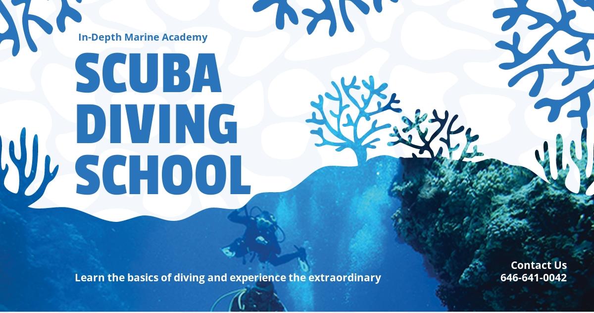 Free Scuba Diving School Linkedin Post Template.jpe
