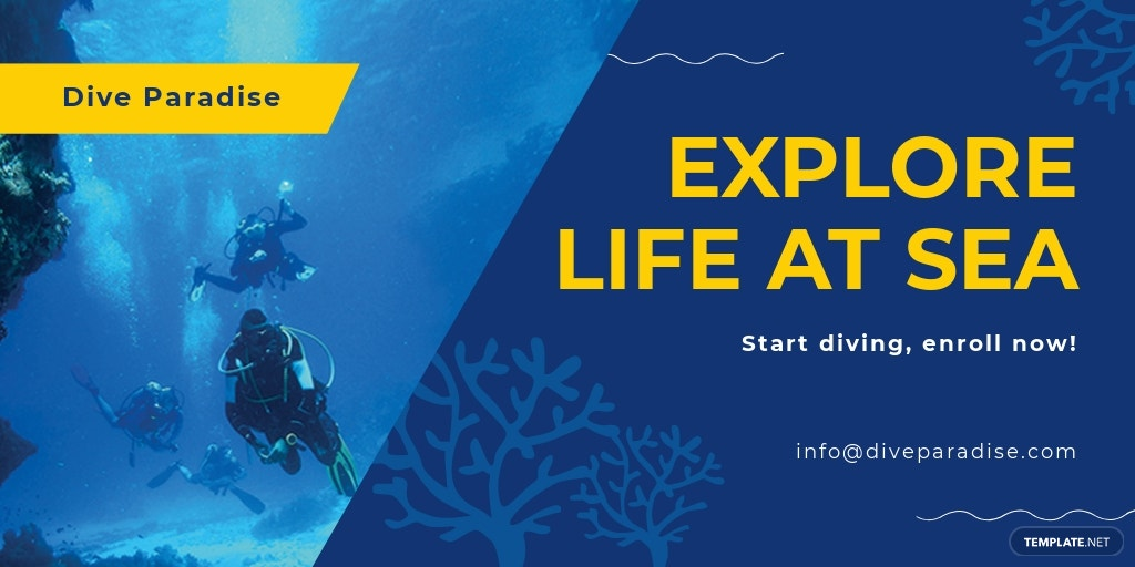 Free Scuba Diving School Twitter Post Template.jpe