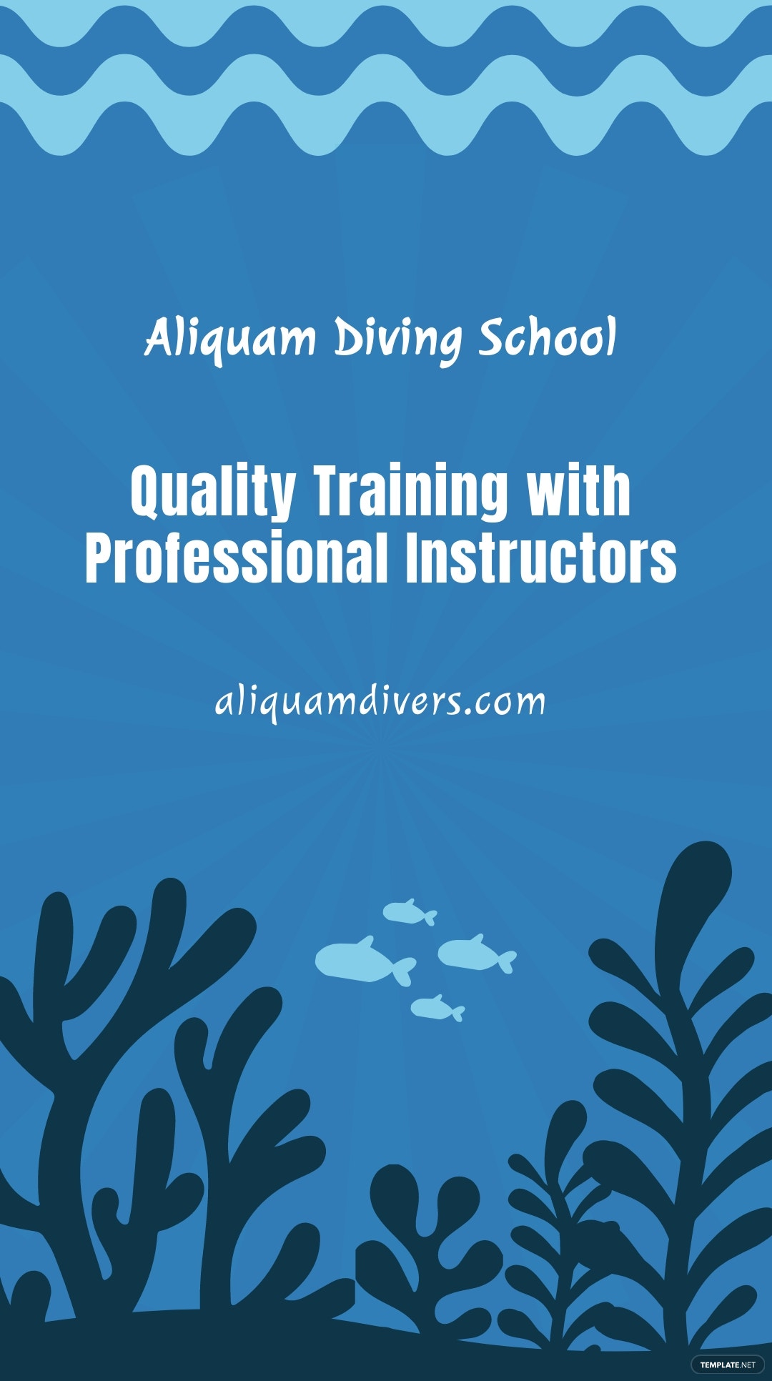 Free Scuba Diving School Whatsapp Post Template.jpe