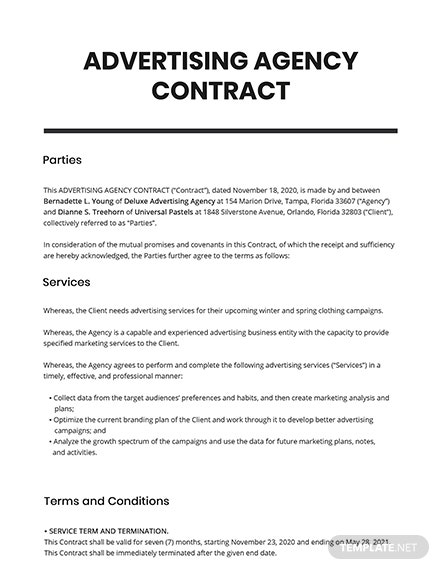Advertising Agency Contract Template
