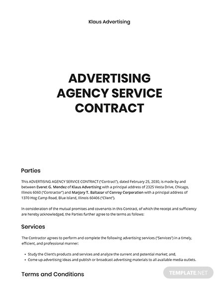 Free Advertising Agency Contract Template