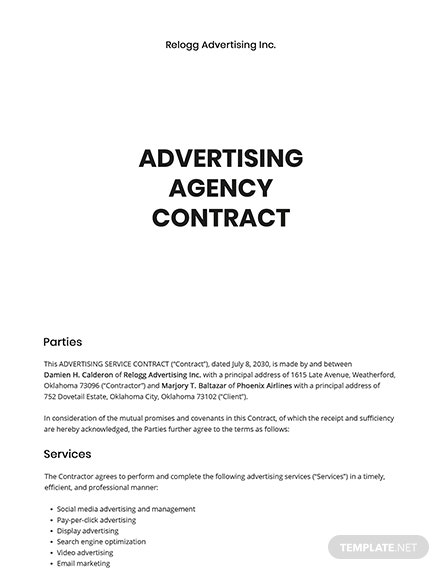 Simple Advertising Agency Contract Template