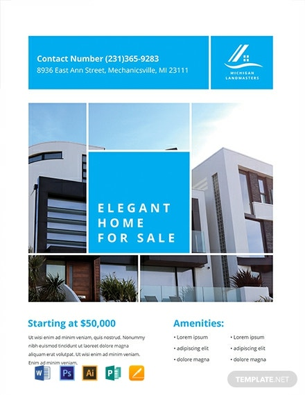 FREE Simple Real Estate Flyer Template - Word | PSD | Apple