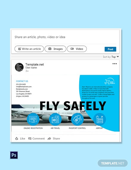 Free Airlines Aviation Services Linkedin Post Template