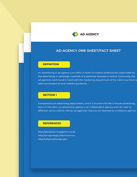 Ad agency onesheetfactsheet Printable