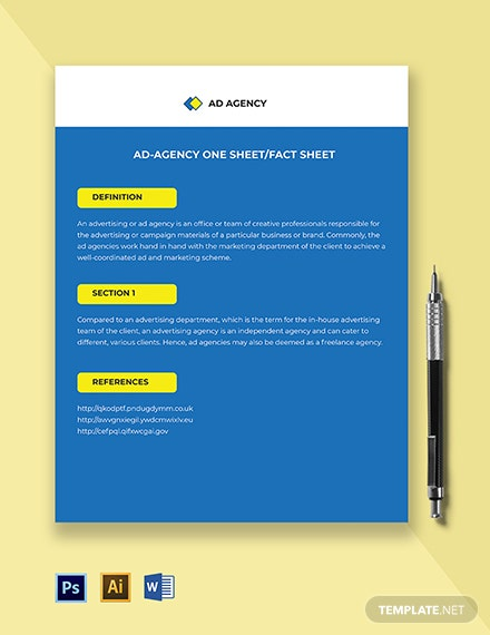 Ad agency one-sheet/fact-sheet Template