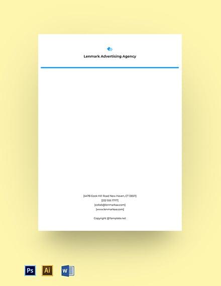 Free simple advertising agency letterhead