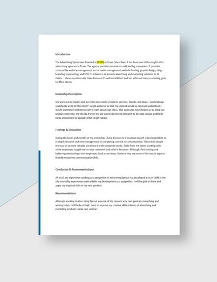 Advertising Agency Internship Report Template