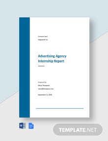 Advertising Agency Internship Report Template