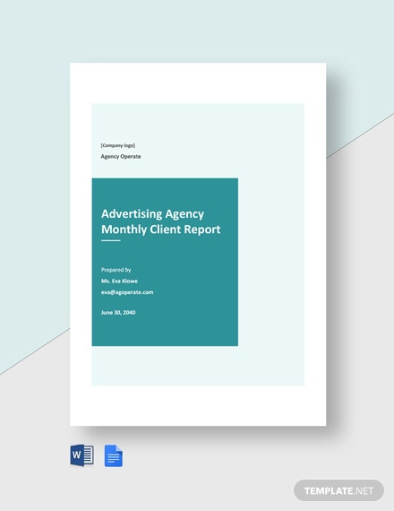 Advertising Agency Monthly Client Report Template