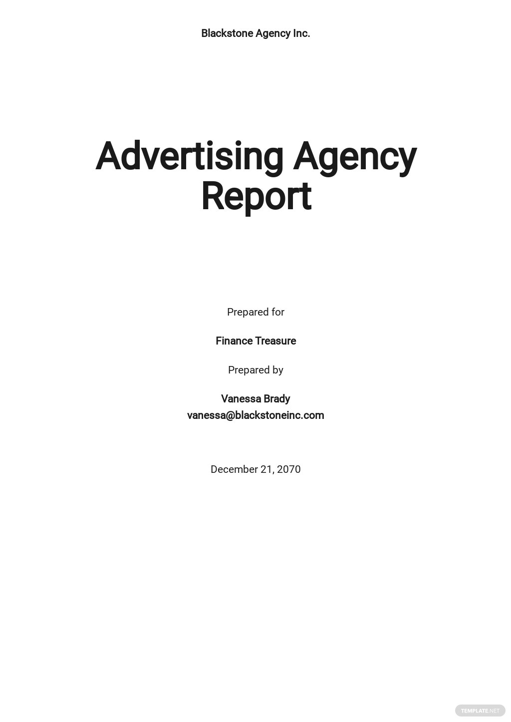 Advertising Agency Monthly Report Template
