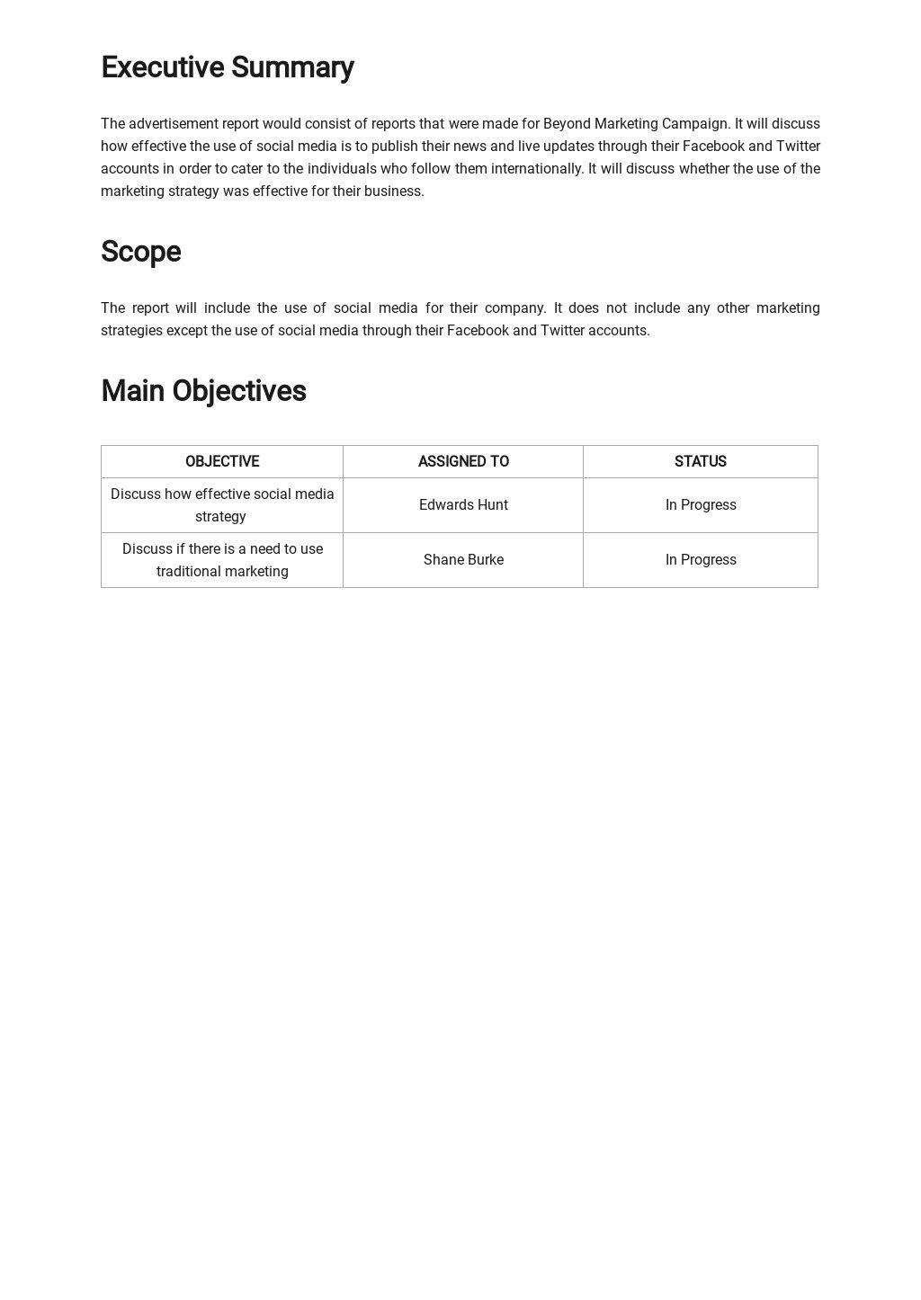 Free Sample Advertising Agency Report Template 1.jpe