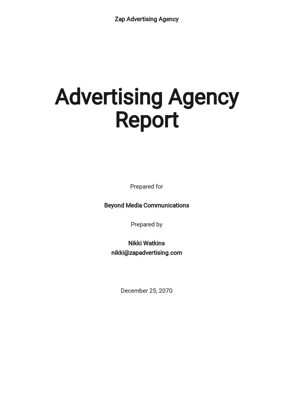 Free Sample Advertising Agency Report Template.jpe