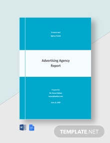 Free Sample Advertising Agency Report Template