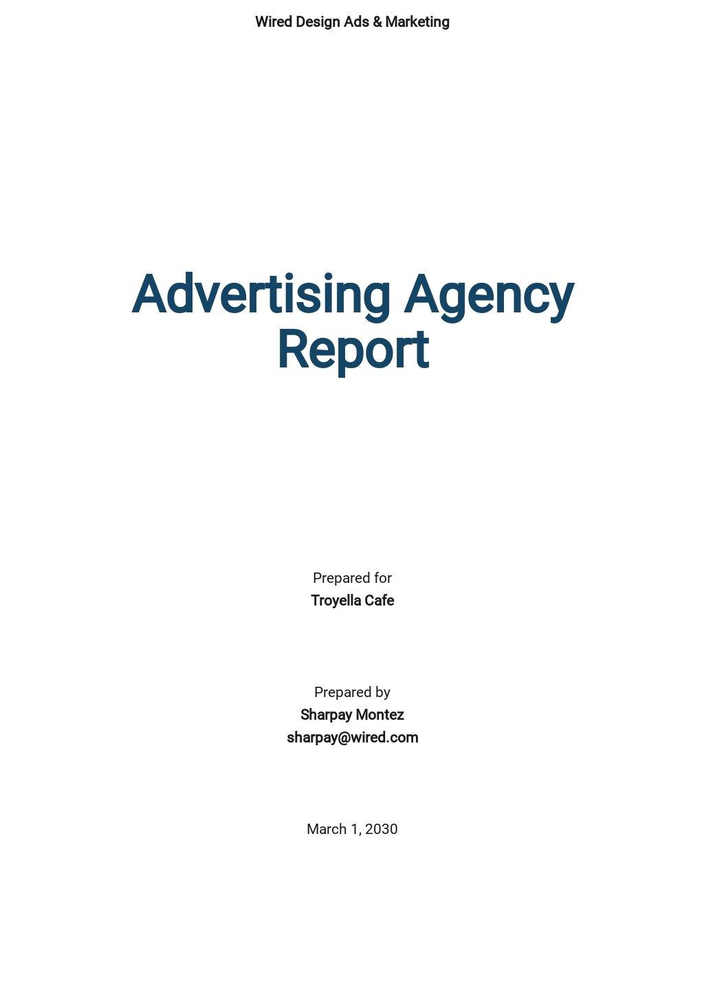 Free Simple Advertising Agency Report Template.jpe