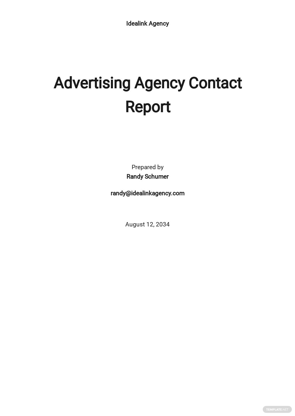 Advertising Agency Contact Report Template.jpe