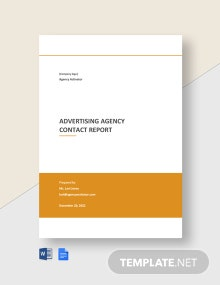 Advertising Agency Contact Report Template