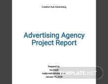 Advertising Agency Project Report Template