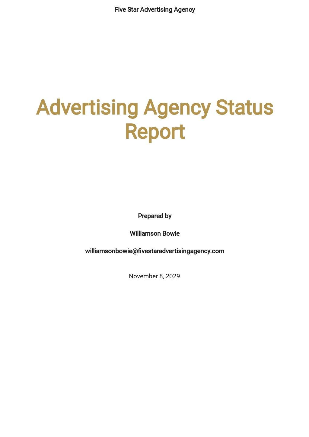 Advertising Agency Status Report Template.jpe