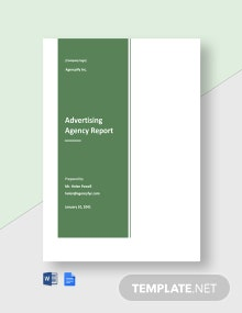 Sample Advertising Agency Report Template