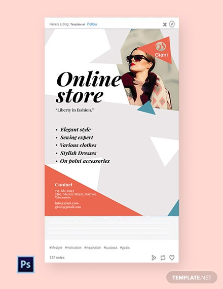 Free Online Store Tumblr Post Template