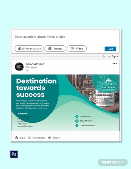 Free Shipping Linkedin Post Template