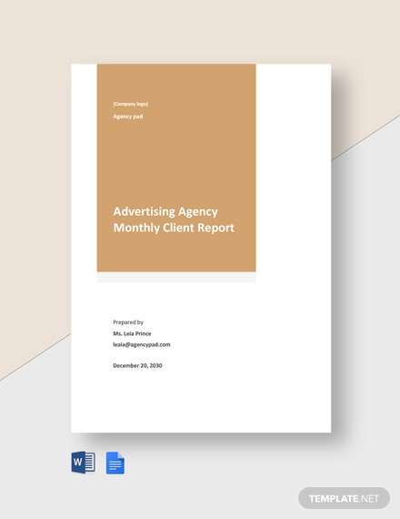 Editable Advertising Agency Monthly Client Report Template