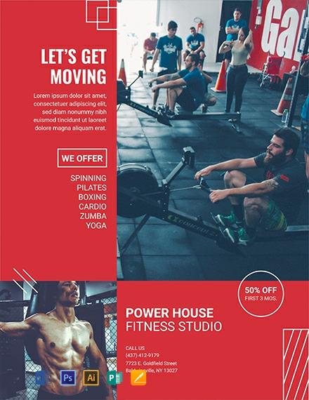 Free Fitness Studio Flyer Template
