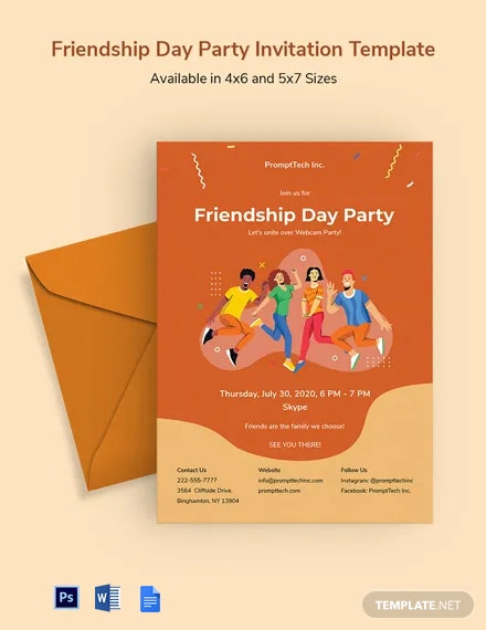 Free Friendship Day Party Invitation Template