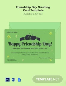 Free Friendship Day Greeting Card Template