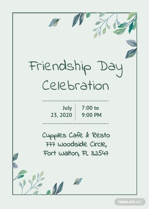Friendship Day Invitation Template